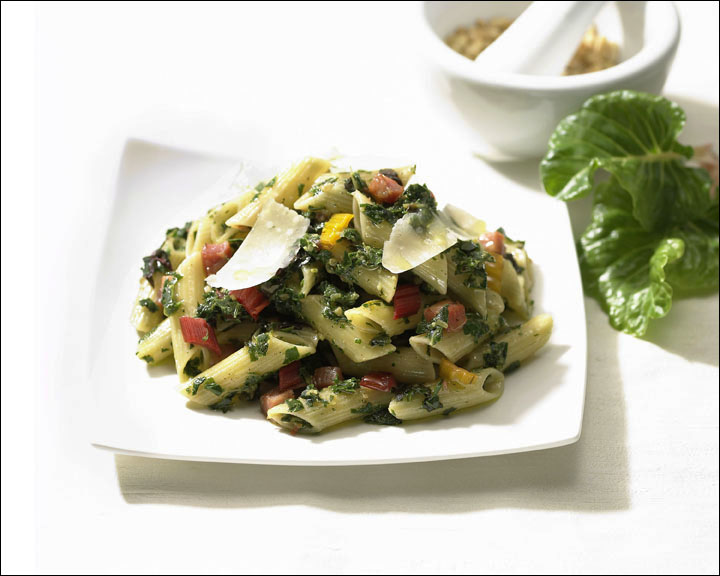 Penne with Swiss Chard Pesto